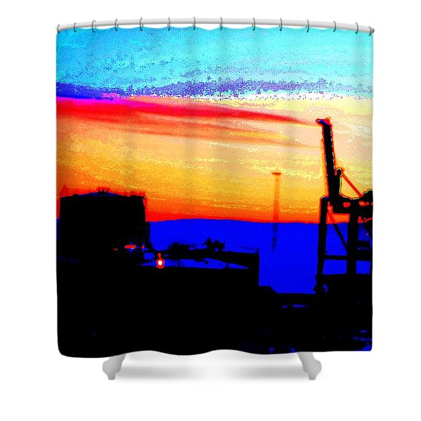 Industrial Sunset Shower Curtain by Hilde Widerberg