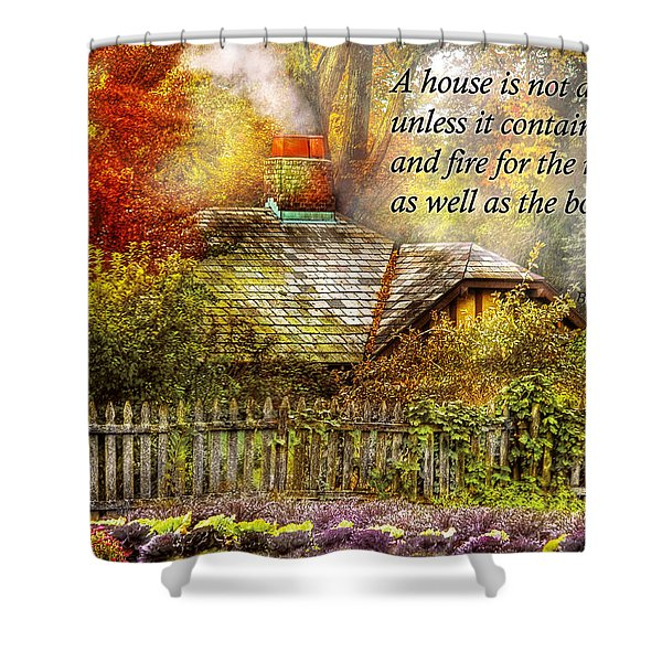 Inspirational - Home is where it's warm inside - Ben Franklin Shower Curtain by Mike Savad