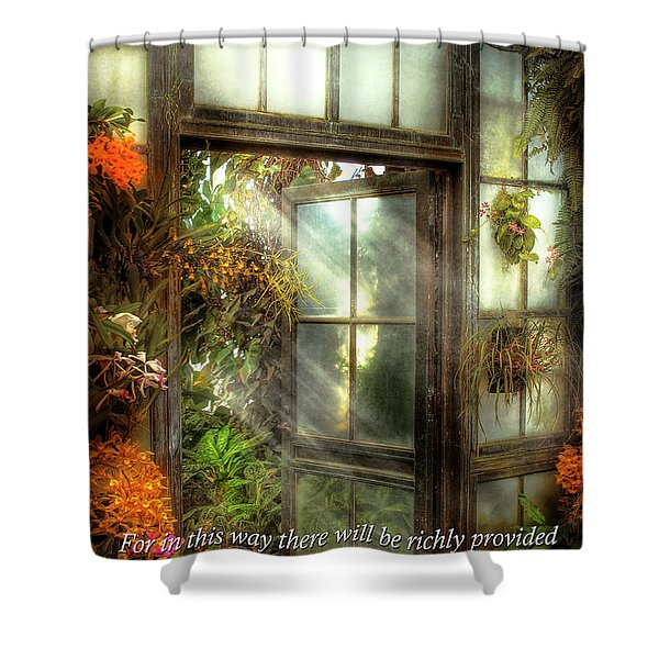 Inspirational - The door to paradise - Peter 1-11 Shower Curtain by Mike Savad