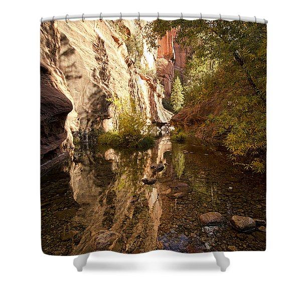 Into the Canyon  Shower Curtain by Saija  Lehtonen