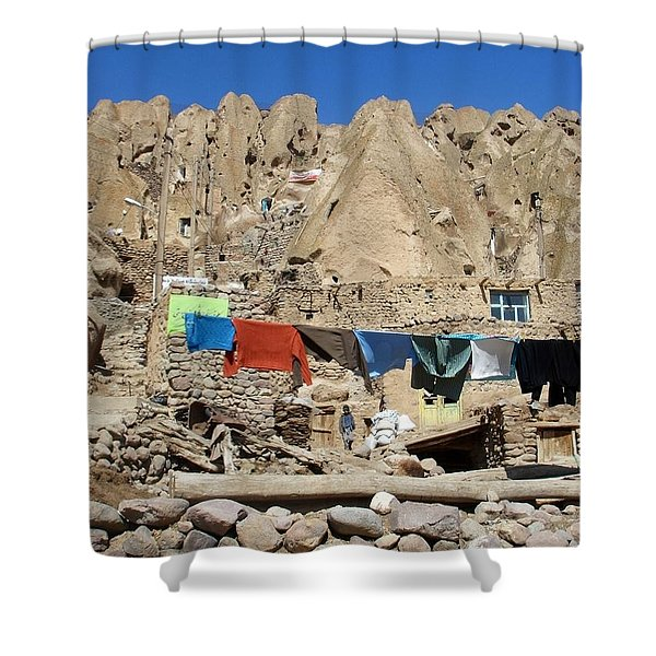 Iran Kandovan Stone Village Laundry Shower Curtain by Lois Ivancin Tavaf