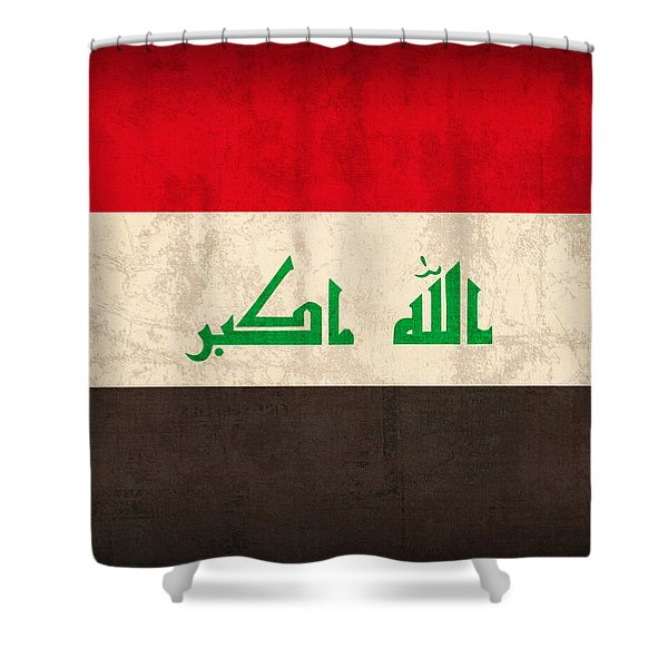 Iraq Flag Vintage Distressed Finish Shower Curtain by Design Turnpike