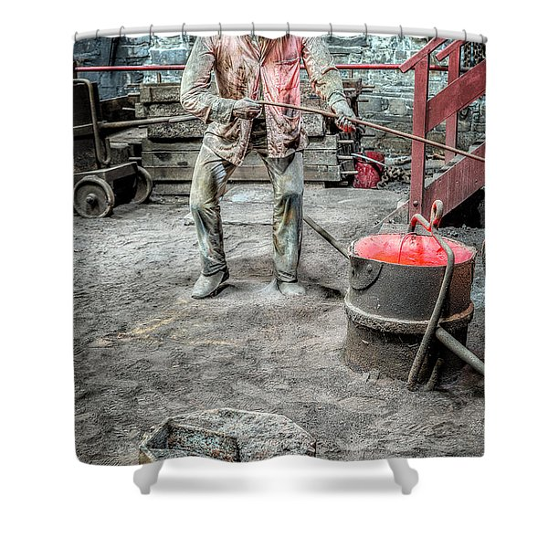 Iron and Brass Foundry Shower Curtain by Adrian Evans