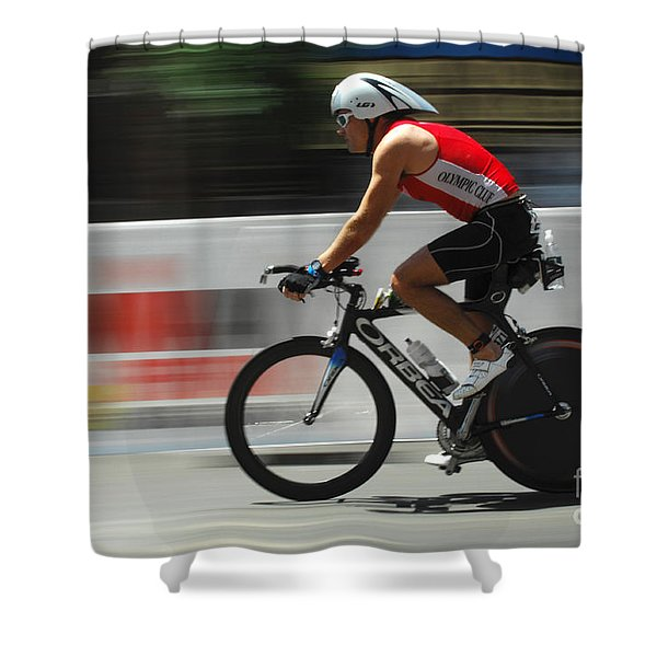 Ironman Flying Shower Curtain by Bob Christopher