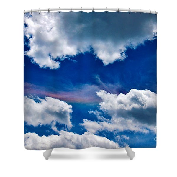 Irridescent Rainbows Among The Clouds Shower Curtain by Janice Rae Pariza