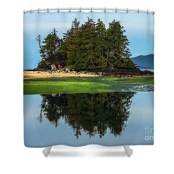 Island Reflection Shower Curtain by Robert Bales
