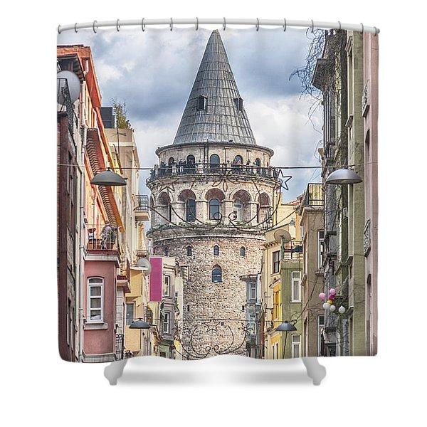 Istanbul Galata Tower Shower Curtain by Antony McAulay