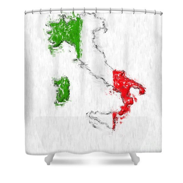 Italy Painted Flag Map Shower Curtain by Antony McAulay