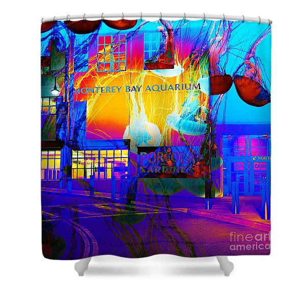 Its Raining Jelly Fish At The Monterey Bay Aquarium 5d25177 Square Shower Curtain by Wingsdomain Art and Photography
