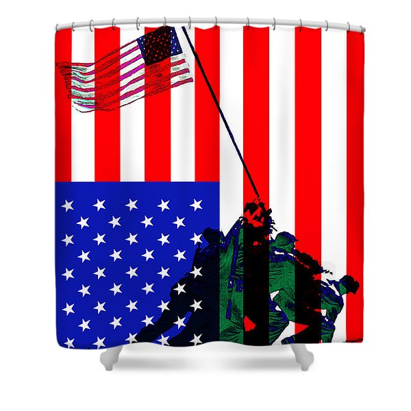 Iwo Jima 20130210 I Pledge Allegiance To The Flag Shower Curtain by Wingsdomain Art and Photography