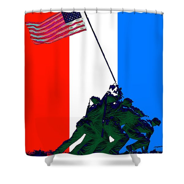 Iwo Jima 20130210 Red White Blue Shower Curtain by Wingsdomain Art and Photography