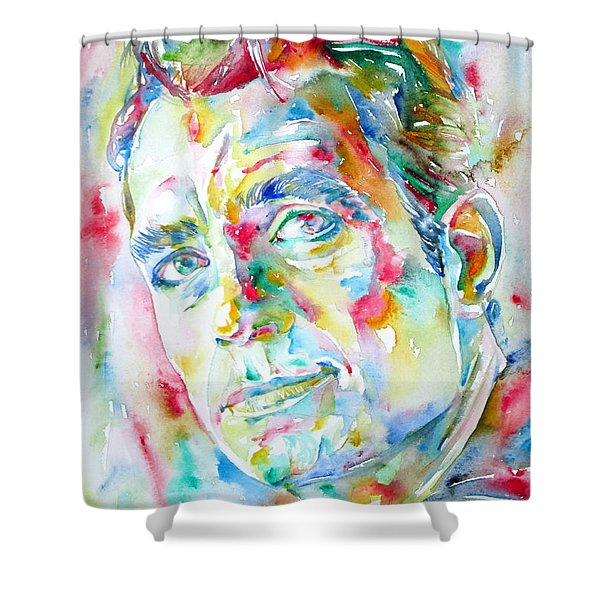Jack Kerouac Portrait.1 Shower Curtain by Fabrizio Cassetta