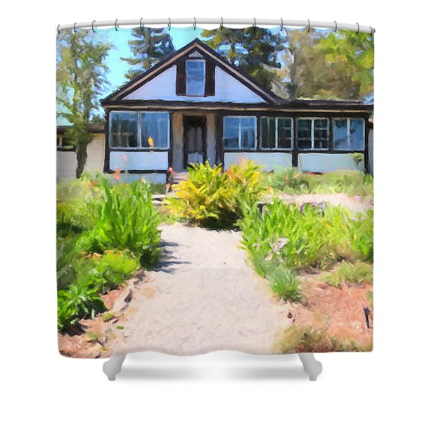 Jack London Countryside Cottage And Garden 5D24565 long Shower Curtain by Wingsdomain Art and Photography