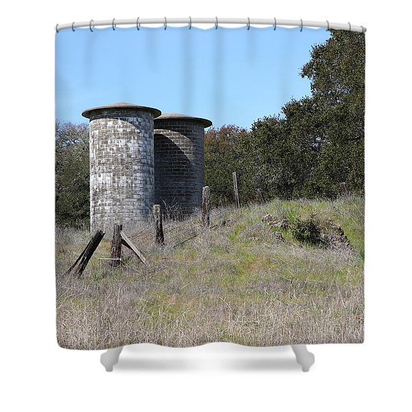Jack London Ranch Silos 5d22146 Shower Curtain by Wingsdomain Art and Photography