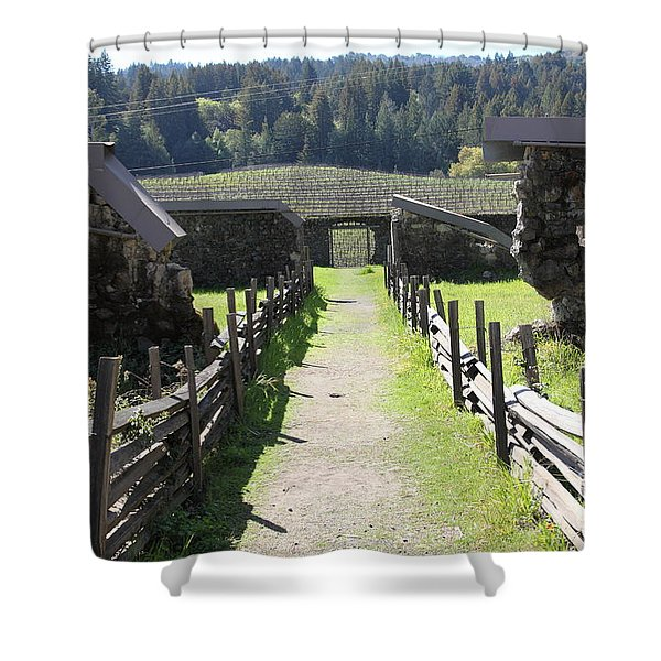 Jack London Ranch Winery Ruins 5d22180 Shower Curtain by Wingsdomain Art and Photography