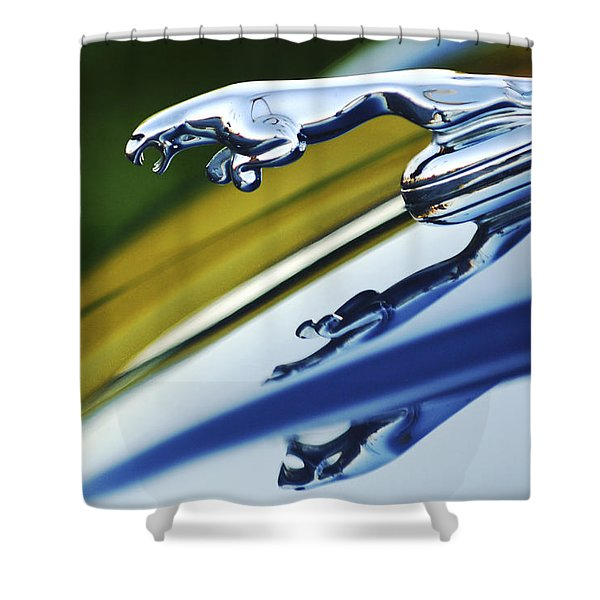 Jaguar Car Hood Ornament Shower Curtain by Jill Reger
