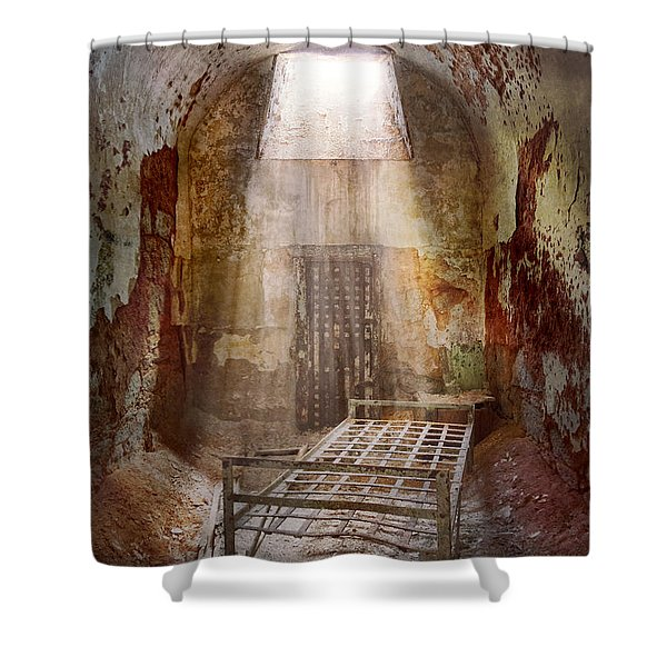 Jail - Eastern State Penitentiary - 50 years to life Shower Curtain by Mike Savad
