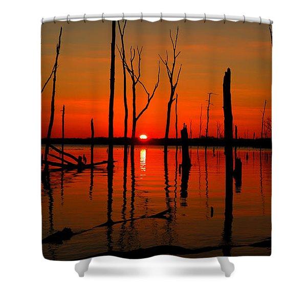 January Sunrise Shower Curtain by Raymond Salani III