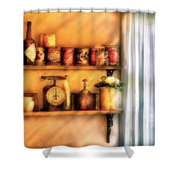 Jars - Kitchen Shelves Shower Curtain by Mike Savad