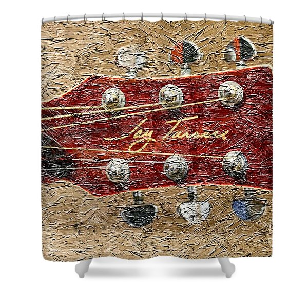 Jay Turser Guitar Head - Red Guitar - Digital Painting Shower Curtain by Barbara Griffin