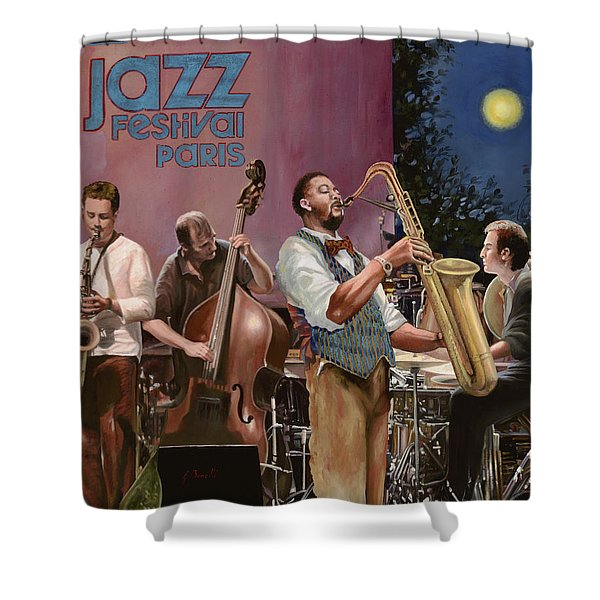 jazz festival in Paris Shower Curtain by Guido Borelli