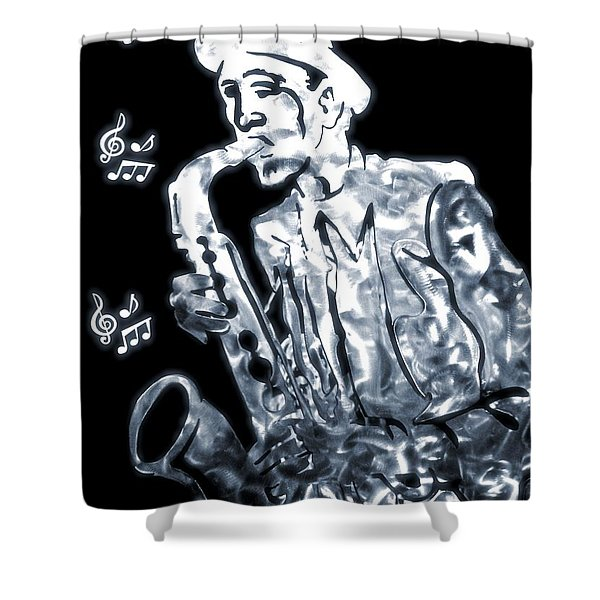 Jazz Notes Shower Curtain by Dan Sproul