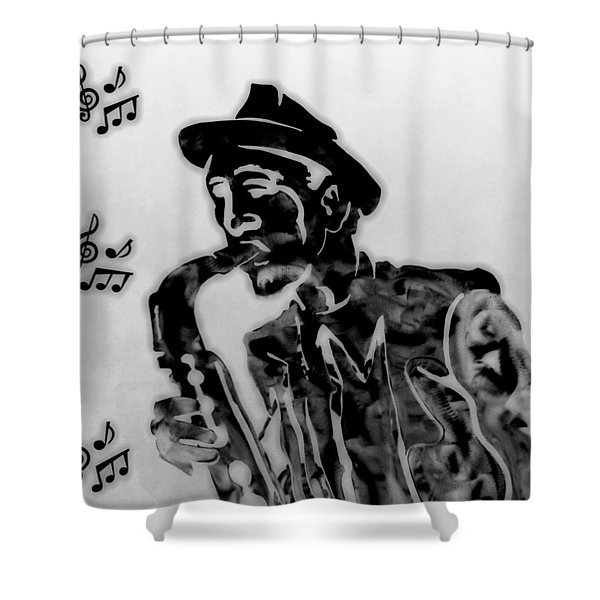 Jazz Saxophone Man Shower Curtain by Dan Sproul