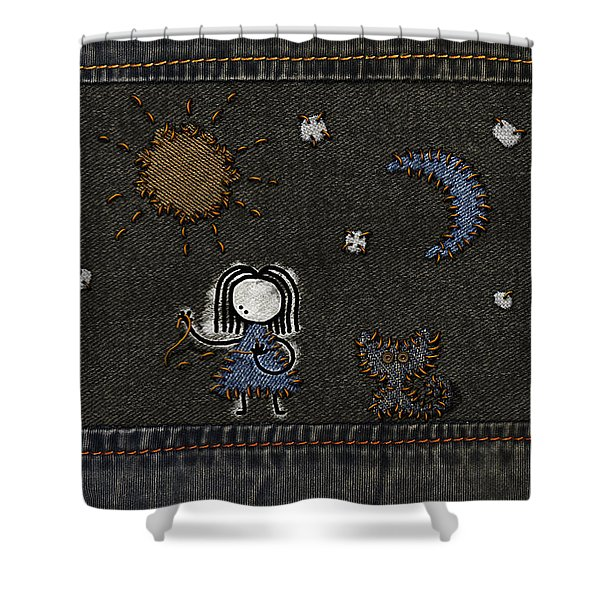Jeans Stitches Shower Curtain by Gianfranco Weiss