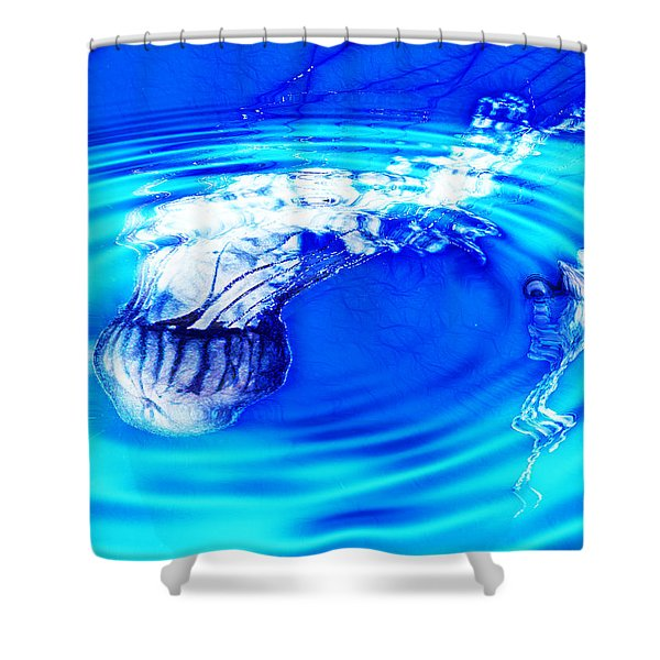 Jellyfish Pool Shower Curtain by Methune Hively