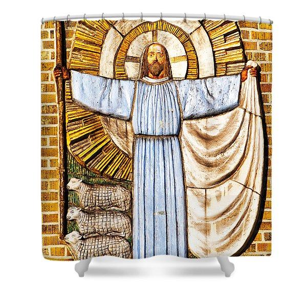 Jesus Christ the Shepherd Shower Curtain by Antony McAulay