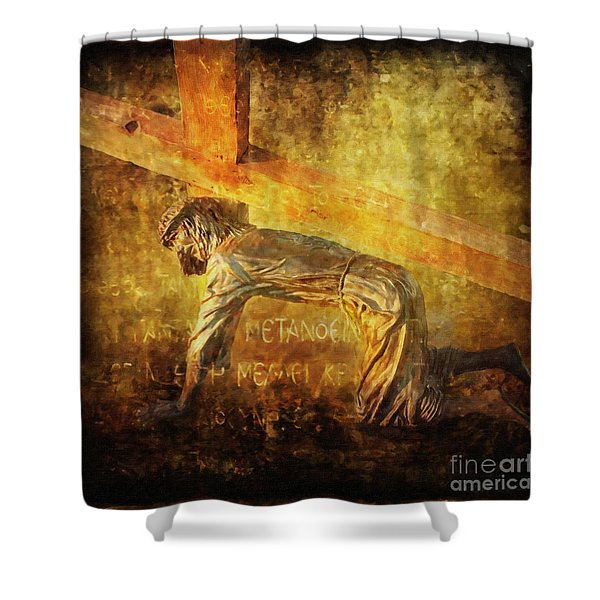 Jesus Falls Again Via Dolorosa 7 Shower Curtain by Lianne Schneider