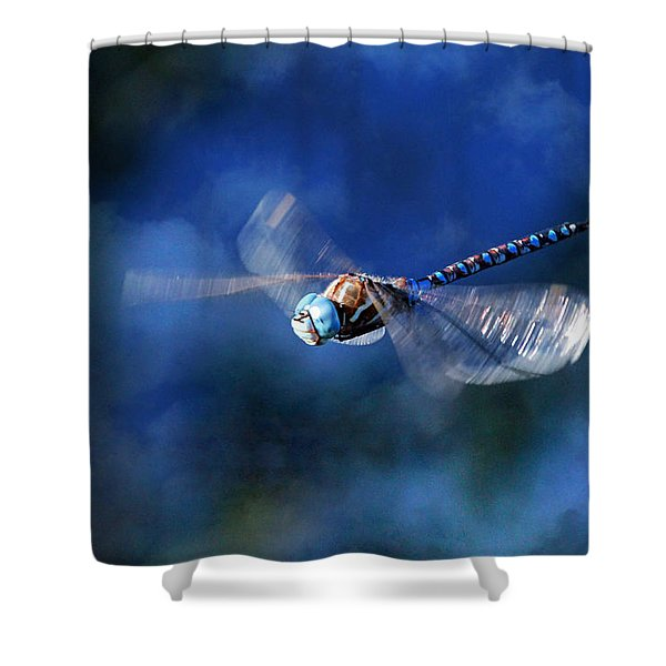 Jet Blue Shower Curtain by Donna Kennedy