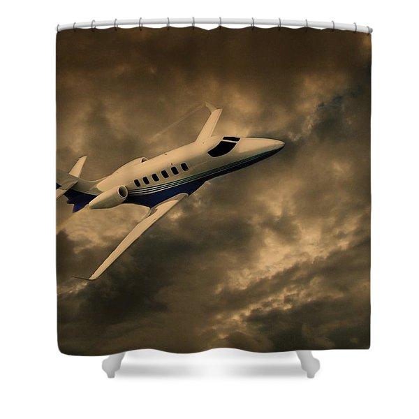 Jet Through The Clouds Shower Curtain by David Dehner