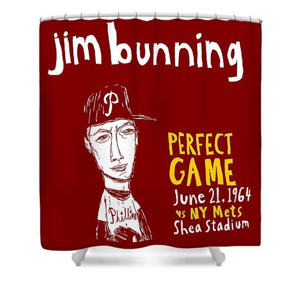 Jim Bunning Philadelphia Phillies Shower Curtain by Jay Perkins