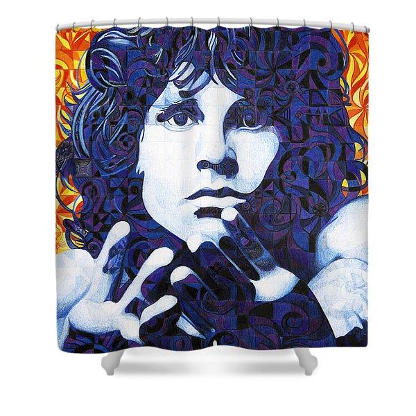 Jim Morrison Chuck Close Style Shower Curtain by Joshua Morton