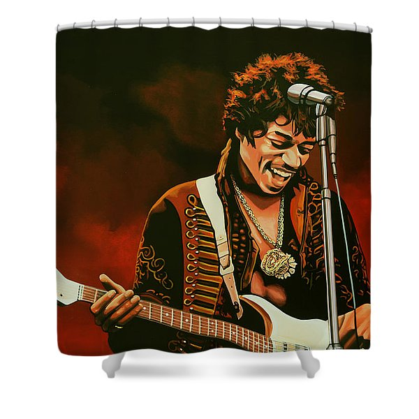 Jimi Hendrix Shower Curtain by Paul  Meijering