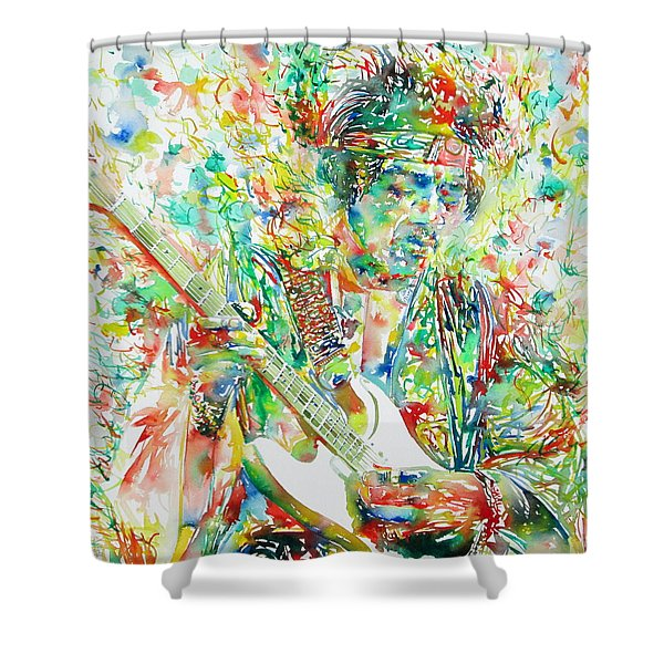 JIMI HENDRIX PLAYING THE GUITAR PORTRAIT.1 Shower Curtain by Fabrizio Cassetta