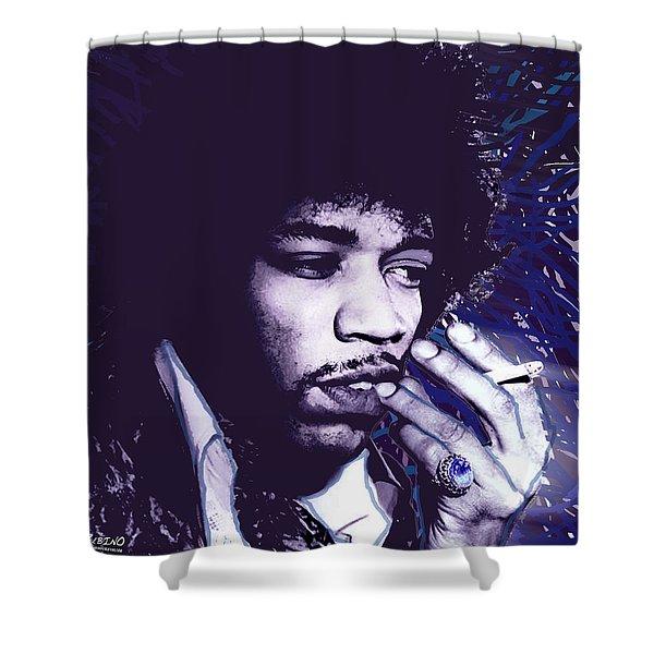 Jimi Hendrix Purple Haze  Shower Curtain by Tony Rubino
