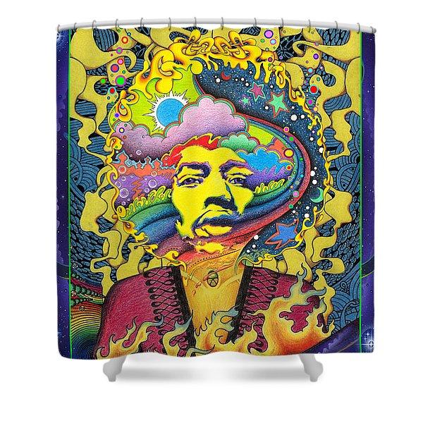 Jimi Hendrix Rainbow King Shower Curtain by Jeff Hopp