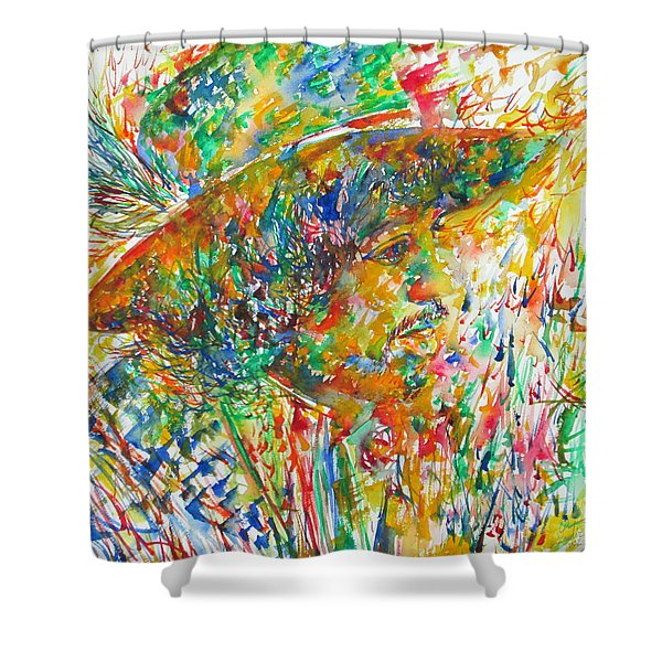 Jimi Hendrix With Hat Watercolor Portrait Shower Curtain by Fabrizio Cassetta