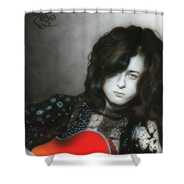 'Jimmy Page' Shower Curtain by Christian Chapman Art