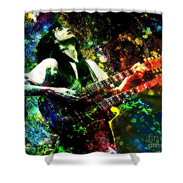 Jimmy Page - Led Zeppelin - Original Painting Print Shower Curtain by Ryan RockChromatic