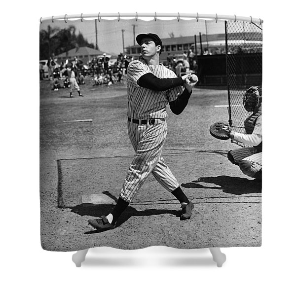 Joe Dimaggio Hits A Belter Shower Curtain by Gianfranco Weiss