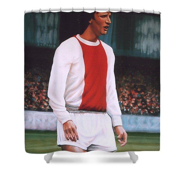 Johan Cruijff Shower Curtain by Paul Meijering