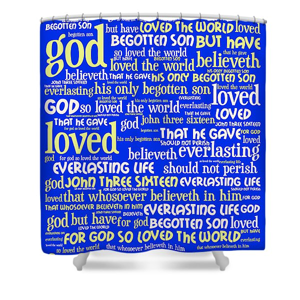 John 3-16 For God So Loved The World 20130622 Vertical Shower Curtain by Wingsdomain Art and Photography