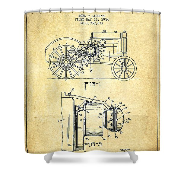 John Deer Tractor Patent drawing from 1934 - Vintage Shower Curtain by Aged Pixel