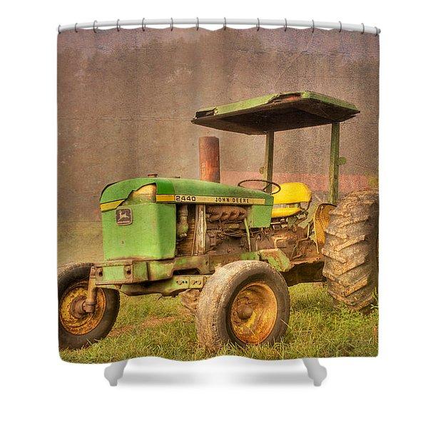 John Deere 2440 Shower Curtain by Debra and Dave Vanderlaan
