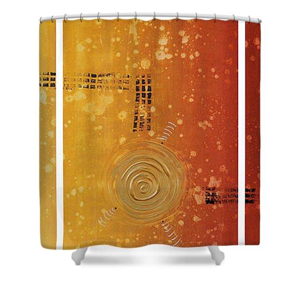 Journey To Zen - Earth Tone Yellow Burnt Orange Art Painting Shower Curtain by Sharon Cummings