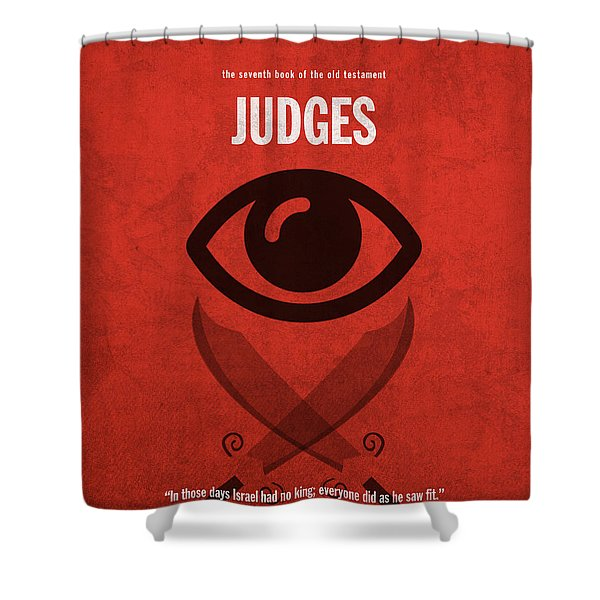 Judges Books of the Bible Series Old Testament Minimal Poster Art Number 7 Shower Curtain by Design Turnpike
