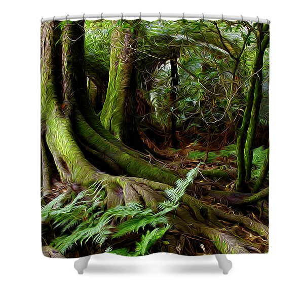Jungle trunks2 Shower Curtain by Les Cunliffe